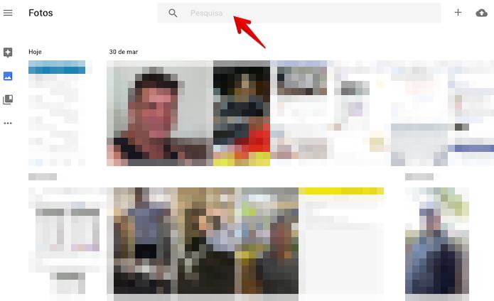 Acesse a pesquisa do Google Photos (Foto: Reprodução/Helito Bijora)