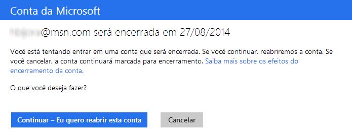 Reativando conta Microsoft (Foto: Reprodução/Helito Bijora)