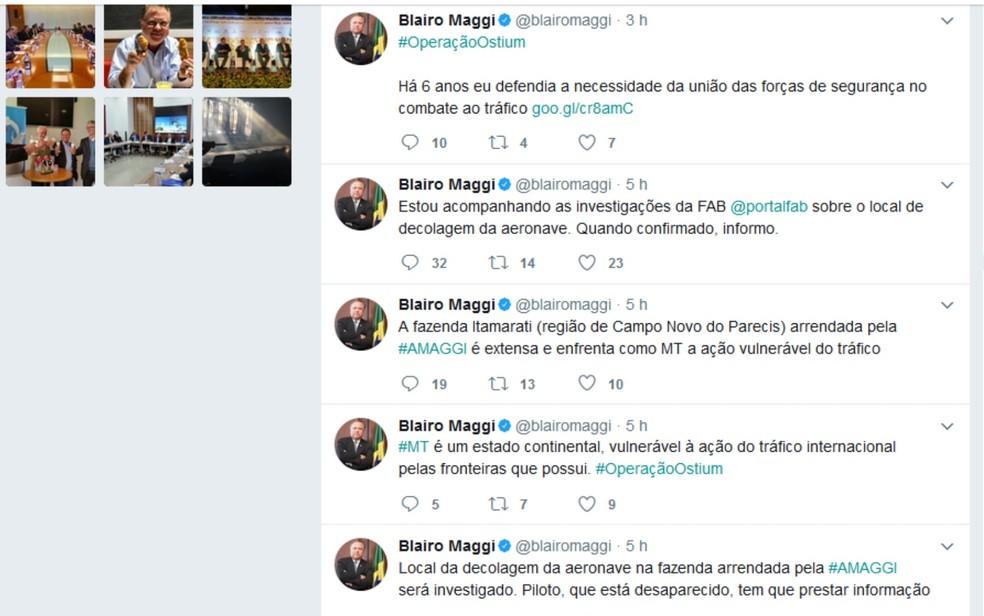 Ministro da Agricultura Blairo Maggi se pronunciou sobre local de saída da aeronave que transportava mais de 600 kg de cocaína em rede social Goiás (Foto: Reprodução/Twitter)