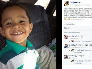 Família de João Vitor faz campanha na internet para encontrar o garoto (Foto: Reprodução/Facebook)