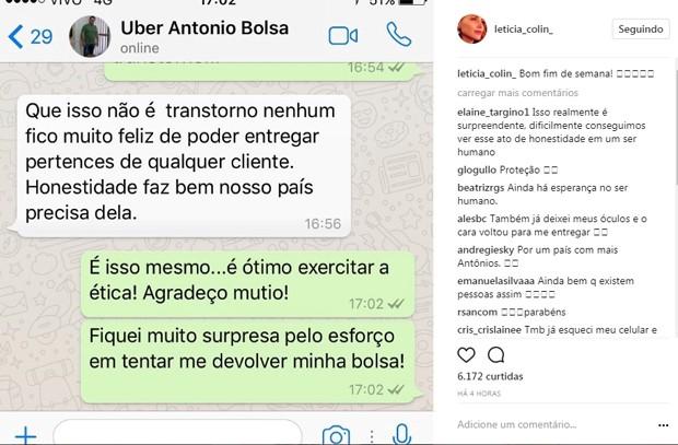 Letícia Colin teve bolsa devolvida por motorista de aplicativo (Foto: Reprodução/Instagram)