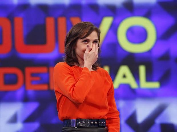Drica Moraes se emociona ao participar do Arquivo Confidencial (Foto: Raphael Dias/TV Globo)