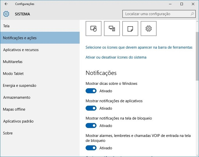 Gerenciando as notificações no Windows 10 (Foto: Felipe Alencar/TechTudo)