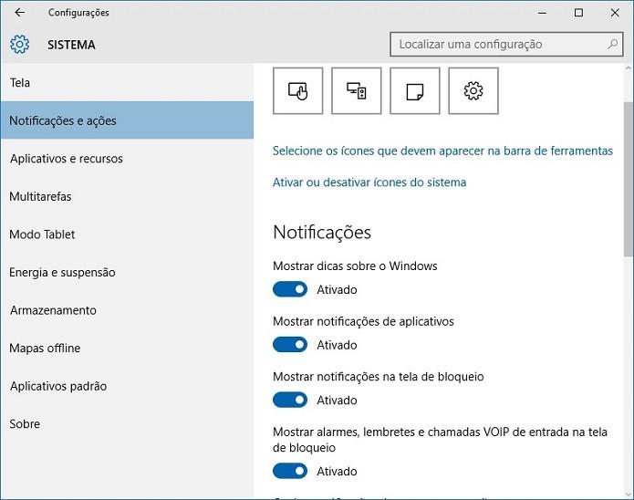 Gerenciando as notificações no Windows 10 (Foto: Felipe Alencar/TechTudo)