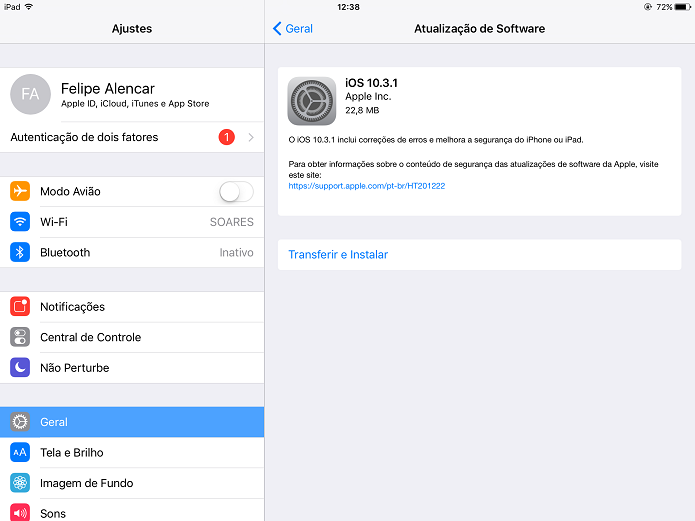 Atualização para o iOS 10.3.1 já está disponível em iPhones e iPads (Foto: Felipe Alencar/TechTudo)