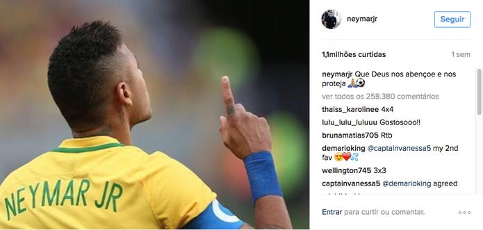 Neymar é o atleta com a foto mais curtida na rede social (Foto: Divulgação/Instagram)