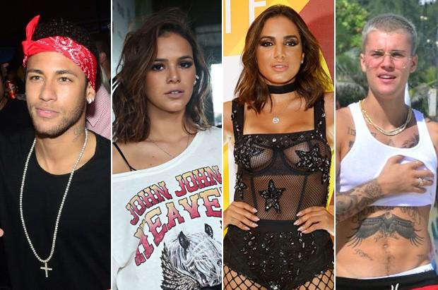 Neymar, Bruna Marquezine, Anitta e Justin Bieber  (Foto: Eduardo Martins/ Ag. News - Celso Tavares / Ego - agnews)