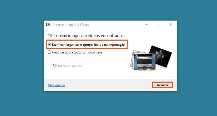 A primeira opção permite selecionar fotos e vídeos para a importação  (Foto: Reprodução/Barbara Mannara))