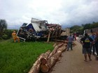Acidente entre 3 caminhões interdita rodovia de Capão Bonito a Taquarivaí