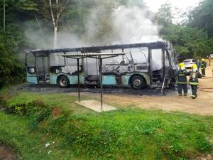 Ônibus ficou destruído (Foto: Cristiano Silva/Rádio Nereu Ramos)