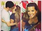 Renata Santos comemora aniversário e ganha beijo do marido
