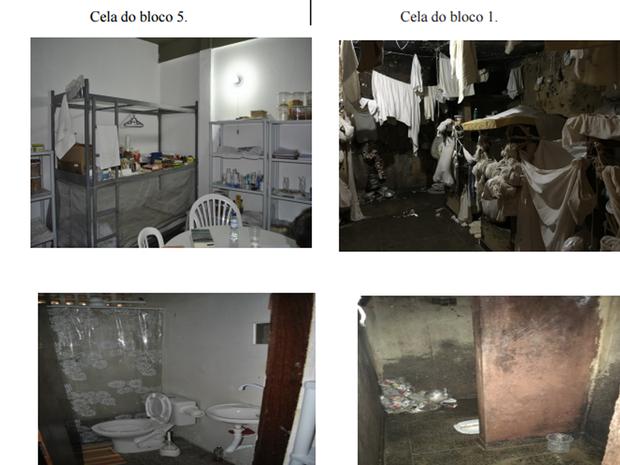 Promotores comparam ala reformada onde Luiz Estevão cumpre pena e outro ambiente da mesma unidade (Foto: Reprodução)