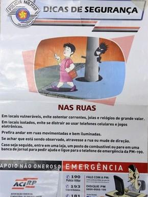 Cartaz de campanha da PM causou polêmica entre defensores da igualdade social (Foto: Silva Junior/Jornal A Cidade)