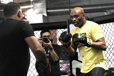 Anderson Silva, treino aberto, UFC Londres, Los Angeles (Foto: Evelyn Rodrigues)