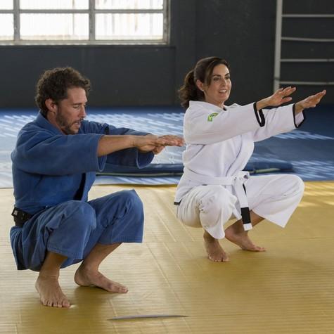 Flavio Canto e Fátima Bernardes em aula de judô (Foto: Estevam Avellar/ TV Globo)