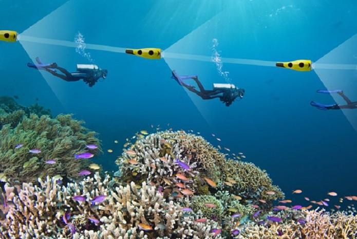 O drone nada seguindo o mergulhador enquanto captura imagens (Foto: Divulgação/iBubble)