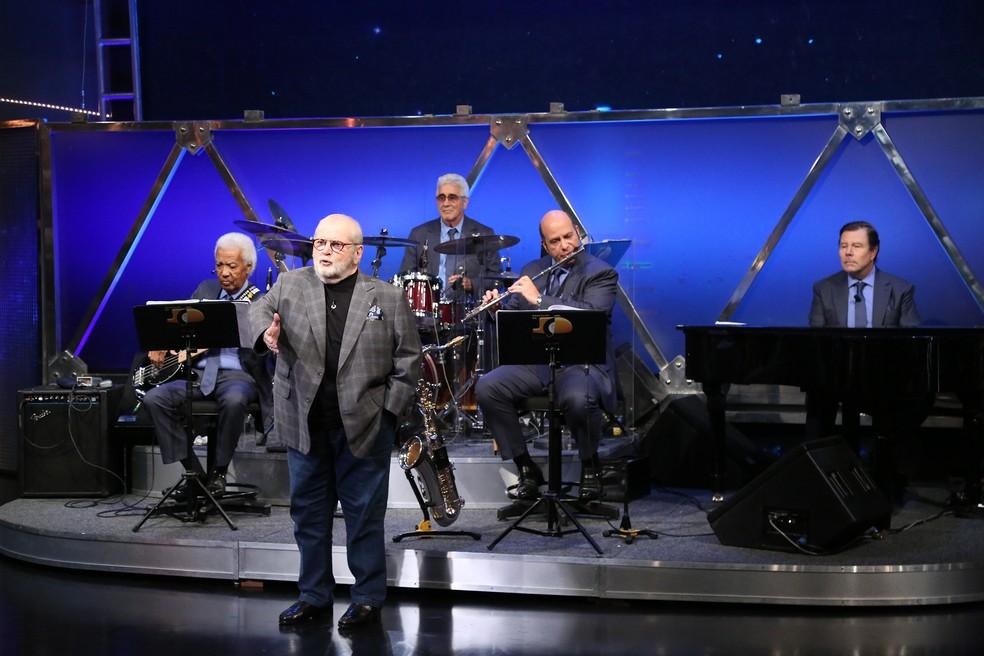 Jô Soares e o quarteto do 'Programa do Jô' (Foto: Carol Caminha/Gshow)