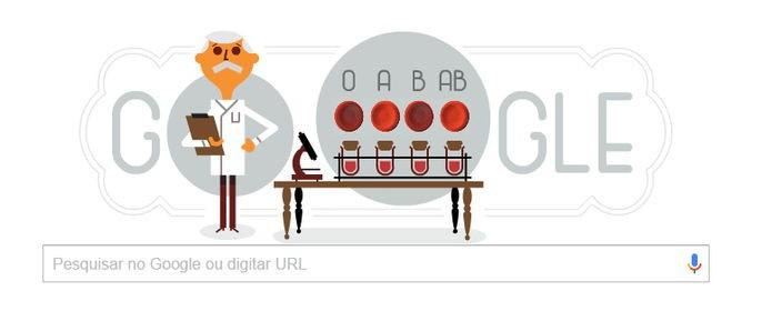 Médico e biólogo Karl Landsteiner foi homenageado no doodle do Google (Foto:Reprodução/Google)
