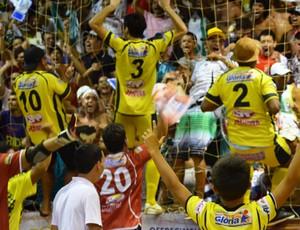 Jogadores caem nos braços da torcida (Foto: Thiago Barbosa/GLOBOESPORTE.COM)