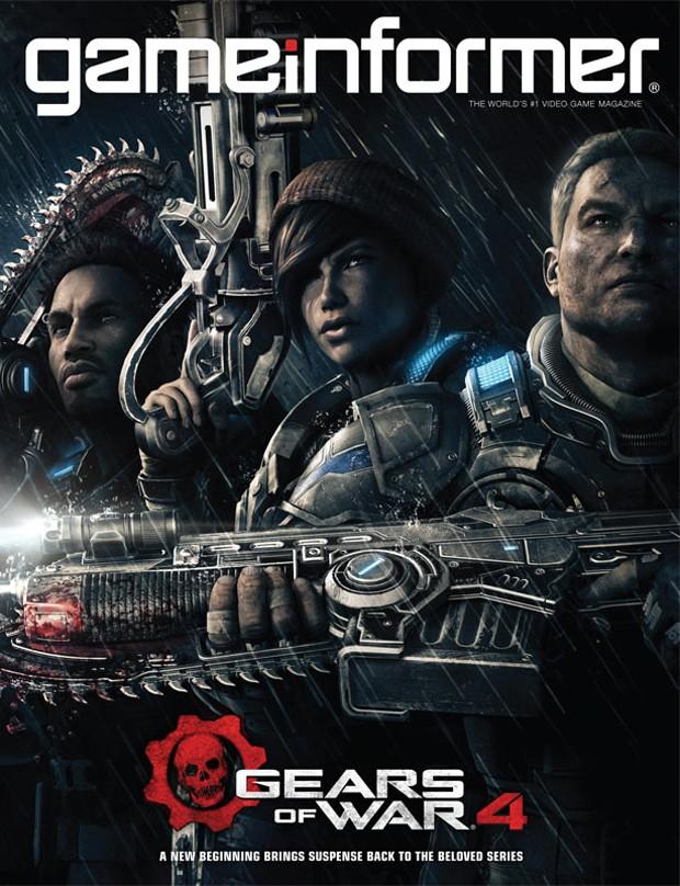 Capa da edição de abril da revista 'Game Informer' confirma trio inédito de protagonistas em 'Gears of War 4' (Foto: Divulgação/Game Informer)