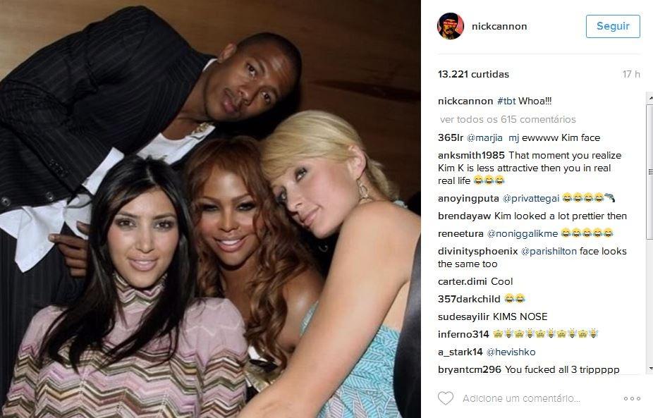 Seguidores de Nick Cannon comentam sobre o rosto de Kim Kardashian em 2006 (Foto: Reprodução)
