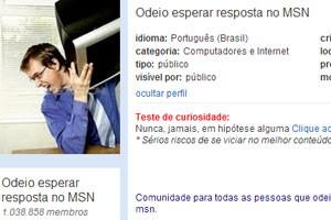"""Comunidade do Orkut """"Odeio esperar resposta no MSN"""". (Foto: Reprodução/Orkut.com)"""