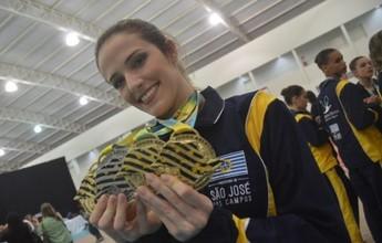 Natália Gaudio é tricampeã da Olimpíada Caipira na ginástica rítmica