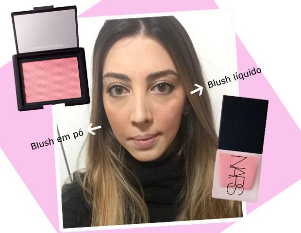 Paula Mello testou o blush Orgasm, da Nars, na versão líquida e em pó (Foto: Marie Claire/Divulgação)