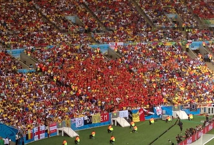 Belgas assistem jogo de pé no Maracanã (Foto: Vicente Seda)