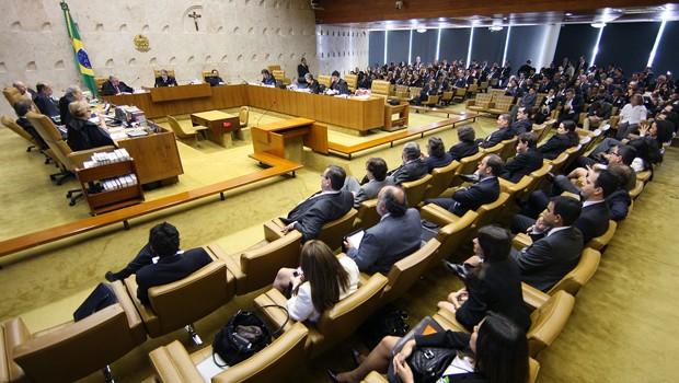 Plenário do Supremo durante sessão de julgamento do processo do mensalão (Foto: Nelson Jr. / STF)