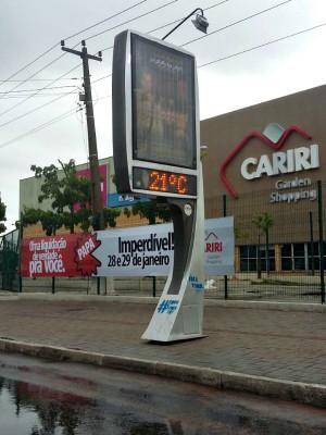 Termômetro marca 21º em Juazeiro do Norte na manhã desta terça-feira (24) (Foto: Biana Alencar/TV Verdes Mares)