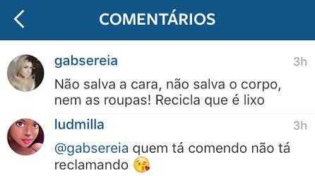 Comentários no instagram de Ludmilla (Foto: Instagram / Reprodução)