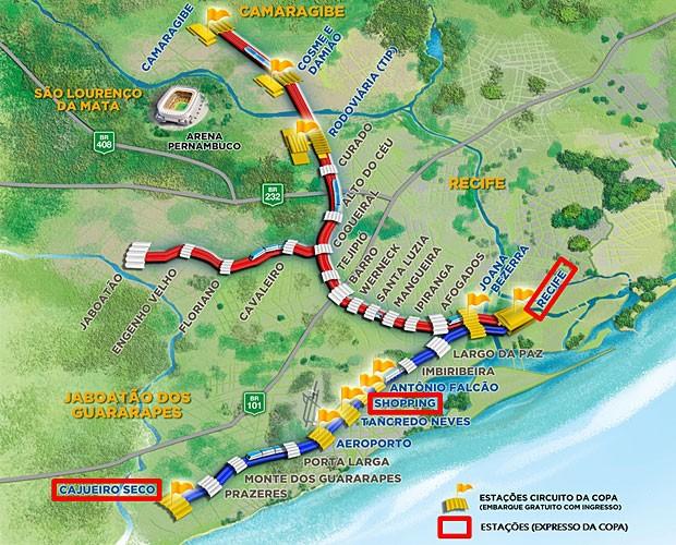 Mapa do metrô do Recife (Foto: Divulgação / Secopa PE)