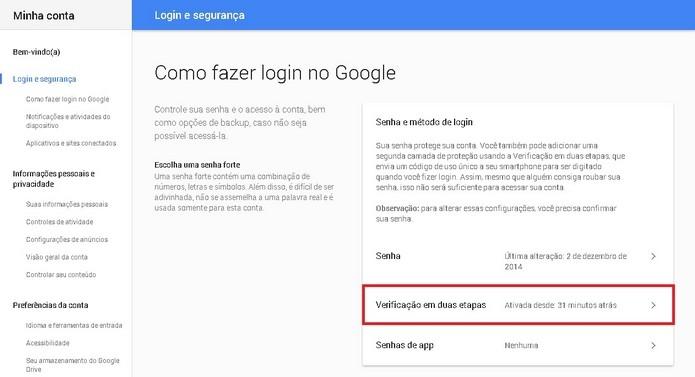 Verificação em duas etapas ativa na sua conta do Google (Foto: Reprodução/Raquel Freire)