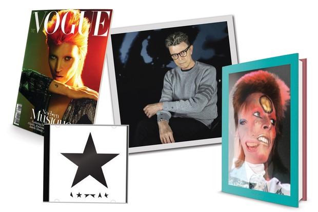 Da esquerda para a direita: Kate Moss como Ziggy Stardust na capa da Vogue francesa (2011), o álbum Blackstar, que será lançado em 8 de janeiro, Bowie (à esquerda) prestes a completar 69 anos e o livro da Taschen, em edição limitada e autografada por ele (Foto: © Mick Rock, Getty Images, Divulgação e Reprodução)