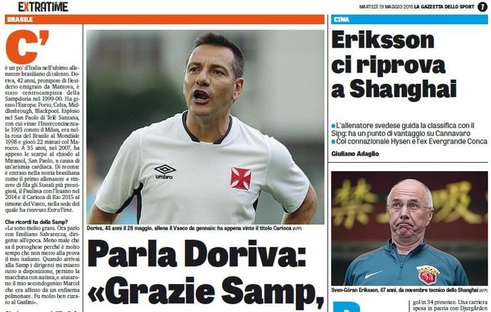 Ao lado do sueco Eriksson, Doriva é destaque na Gazzetta Dello Sport (Foto: Reprodução)