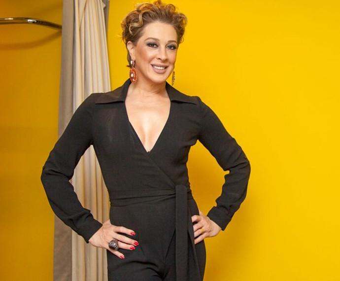 A atriz também mostrou a boa forma nos bastidores do Domingão (Foto: Fabiano Battaglin/Gshow)
