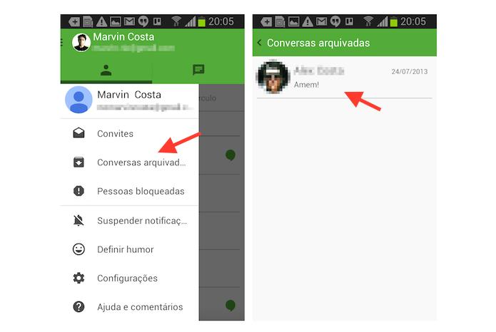 Acessando conversas arquivadas no Hangouts para Android (Foto: Reprodução/Marvin Costa)