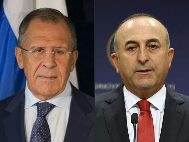 Combinação de fotos mostra os chanceleres russo Serguei Lavrov e turco Mevlüt Cavusoglu  (Foto: Adem Altan, Dominick Reuter/AFP)