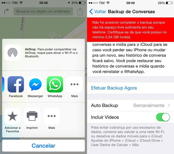 Atualização do Whatsapp para iOS traz melhorias de compartilhamento e backup de vídeos (Foto: Reprodução/Juliana Pixinine)