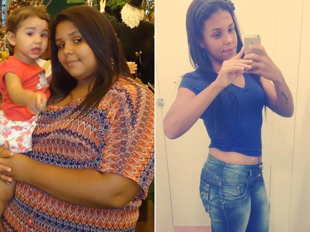 Tayna César chegou a pesar 123 kg; hoje, 60 kg mais magra, está satisfeita com o peso (Foto: Tayna César/Arquivo pessoal)