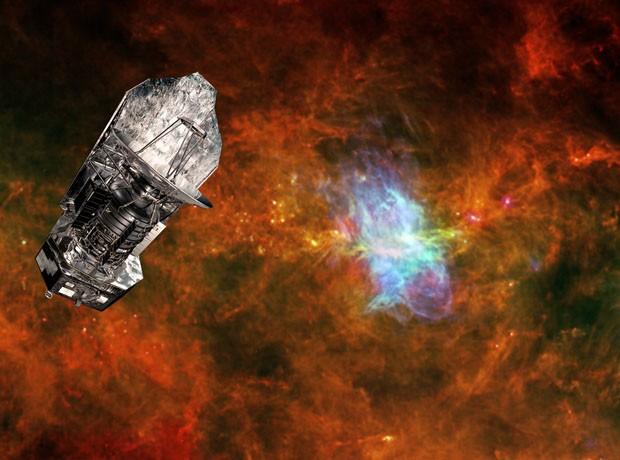 Concepção artística coloca imagem do telescópio Herschel próxima à região que corresponde a um 'berçário' de estrelas no espaço (Foto: ESA/AFP)