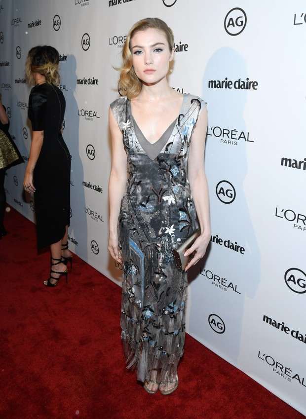 Skyler Samuels em evento em Los Angeles, nos Estados Unidos (Foto: Matt Winkelmeyer/ Getty Images/ AFP)