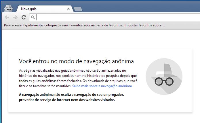 Novo visual da janela de navegação anônima do Chrome (Foto: Reprodução/Edivaldo Brito)