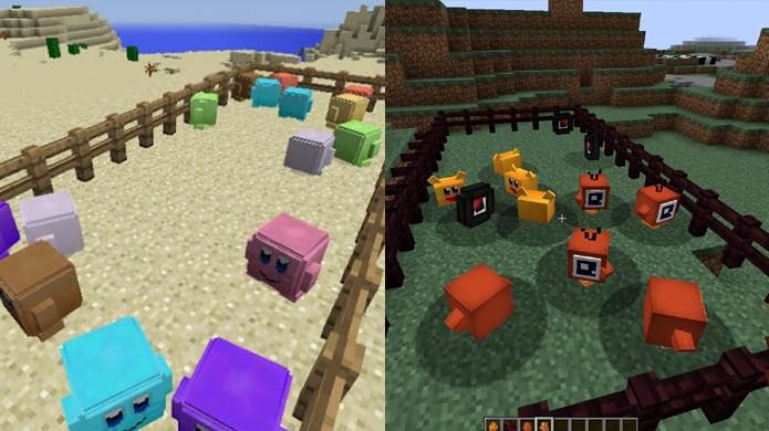 Kirby conta com seus amigos e inimigos ao adicionar dois mods em Minecraft (Foto: Reprodução/MMO Cheater Team e World of Mods)