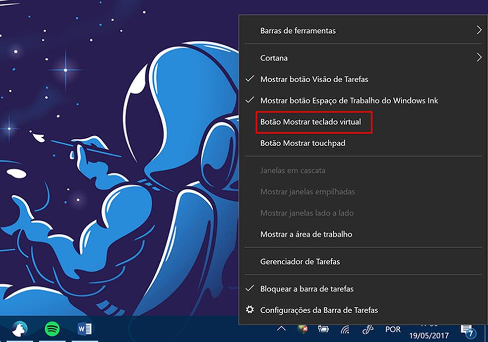 Clique para mostrar teclado virtual do Windows 10 (Foto: Reprodução/Elson de Souza)