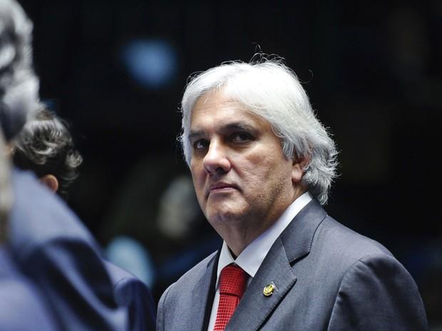 O senador Delcídio Amaral (PT-MS), durante sessão ordinária no plenário do Senado em abril de 2015 (Foto: Ana Volpe/Agência Senado/Arquivo)