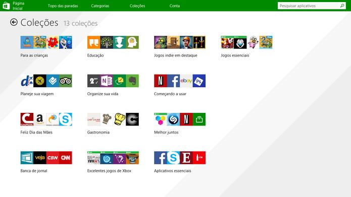 Loja do Windows 8.1 agora oferece também coleções de aplicativos separados por temas ou funções (Foto: Reprodução/Elson de Souza)