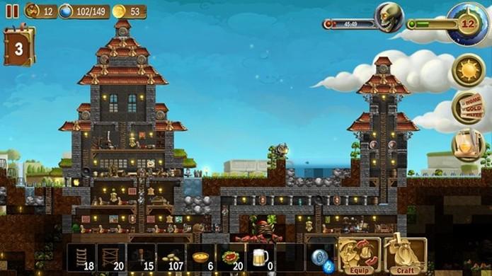 Há muitas semelhanças em Craft the World com Minecraft e Terraria, mas o jogo se destaca com um toque de Tower Defense (Foto: Reprodução/Steam)