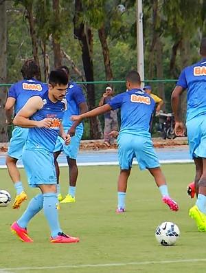 Atacante Willian acertou todas as cobranças no treino (Foto: Reprodução / TV Globo Minas)
